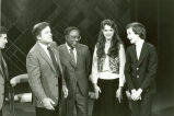 Photograph of Mike Douglas, Alex Haley, Brooke Shields, and unknown man
