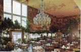 Postcards - - 1970s - - Creighton's Restaurant with chandelier.